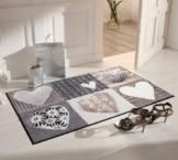 Salonloewe Fussmatte in der Farbe Grau-Beige im Landhausdesign